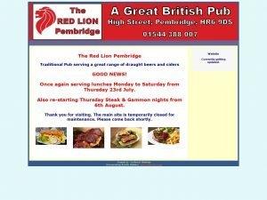 The Red Lion Pembridge website screenshot